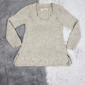 ZARA Cream Wool Alpaca Spliced Back Sweater